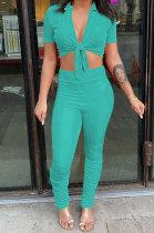 Cyan Women Fashion Ribber Deep V Neck Tied Short Sleeve Blouse Pants Sets FFE168-3