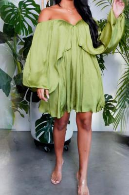 Green Chiffon Pure Color A Word Shoulder Long Sleeve Loose Waist Casual Dress JL19184-1