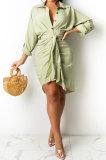 White Women Fashion Casual Button Tied T Shirt/Shirt Dress YBS86726-1