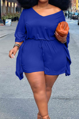 Blue Plus Size Pure Color Off Shoulder Horn Sleeve Drawstring Shorts Two Piece ZQ8098-3