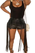 Black Pure Color Mid Waist PU Leather Pants Tassel Shorts MD421-1