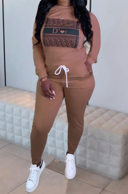 Women Trendy Sexy Long Sleeve Round Neck Tied Casual Pants Sets JH268