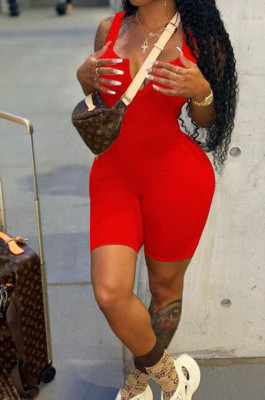 Red Solid Color Summer Notched Neck Sleeveless Tight Tank Jumpsuits OH8076-1