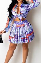 Blue Print Lapel Neck Button Long Sleeve Shirt Mid Waist Pleated Skirts Sets CM2149-2