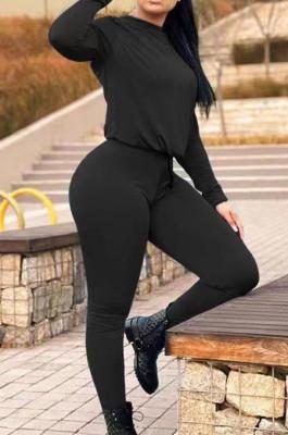 Black Fall Winter Pure Color Round Neck Long Sleeve Drawstrint Long Pants Sport Sets TD80058-1