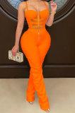 Orange Women Solid Color Condole Belt Strapless Zipper Tank Long Pants Sets XZ5215-4
