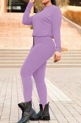 Purple Fall Winter Pure Color Round Neck Long Sleeve Drawstrint Long Pants Sport Sets TD80058-3
