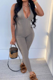 Grey Pure Color RIidder Halter Neck Bandage V Collar Sexy Backless Bodycon Jumpsuits LML251-1