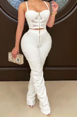 White Women Solid Color Condole Belt Strapless Zipper Tank Long Pants Sets XZ5215-1