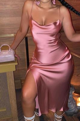 Pink Glossy Condole Belt Adjust Low Cut Slit Dress LML256-4