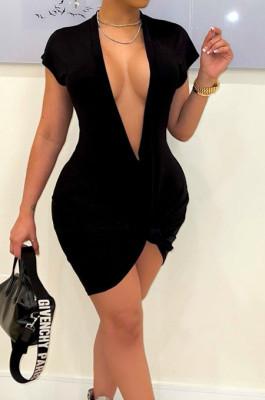 Black Pure Color Deep V Neck Short Sleeve Casual T Shirt Dress LML254-3