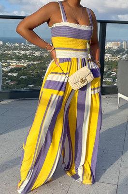 Yellow Women Pocket Printing Waisting Wide Leg Jumpsuits HXY88072-2