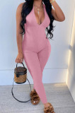 Pink Pure Color RIidder Halter Neck Bandage V Collar Sexy Backless Bodycon Jumpsuits LML251-2