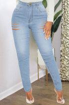Light Blue High Waist Bodycon Hole Jeans Long Pants WE9030-5