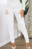 White High Waist Bodycon Hole Jeans Long Pants WE9030-2