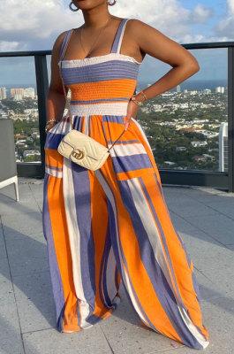 Orange Blue Women Pocket Printing Waisting Wide Leg Jumpsuits HXY88072-1