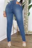 Dark Blue High Waist Bodycon Hole Jeans Long Pants WE9030-4
