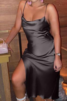 Black Glossy Condole Belt Adjust Low Cut Slit Dress LML256-3