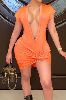 Orange Pure Color Deep V Neck Short Sleeve Casual T Shirt Dress LML254-1