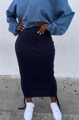 Navy Blue Two Sides Drawstring Pure Color Mid Waist Skirts S66301