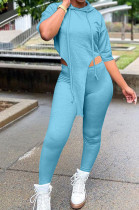 Aqua Blue Solid Color Personality Hoodie Half Sleeve Top Tight Long Pants Sports Sets LM88802-2