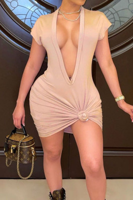 Khaki Pure Color Deep V Neck Short Sleeve Casual T Shirt Dress LML254-4