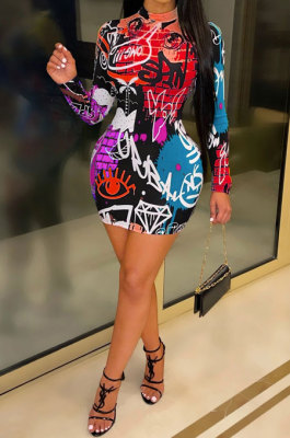 Red Euramerican Women Digital Printing Long Sleeve Round Neck Mini Dress XZ5159-4