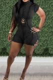 Black Women Bandage Short Sleeve Hollow Out Romper Shorts LD81019-3