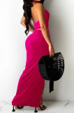 Rose Red Sexy Sleeveless Cross Condole Blet Bandage Split Solid Color Skirts Sets XZ5155-3