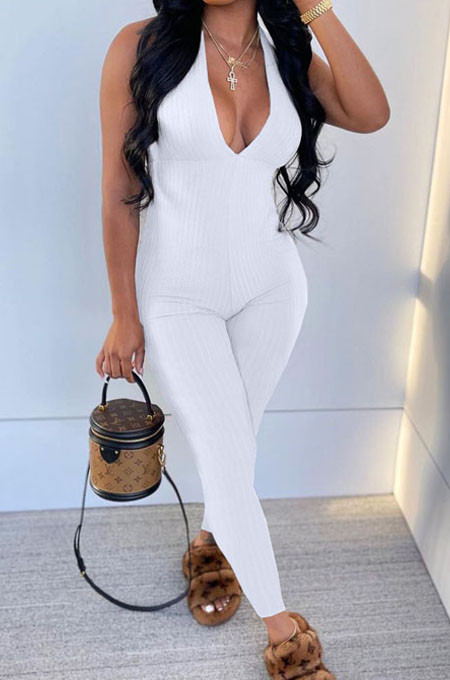 White Pure Color RIidder Halter Neck Bandage V Collar Sexy Backless Bodycon Jumpsuits LML251-5
