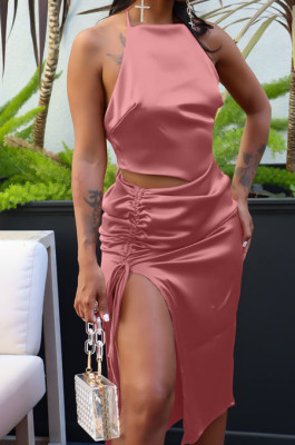 Pink Silk Satin Sexy Halter Neck Backless Bandage Tank Drawstring Slit Skirts Two Piece LML257-1
