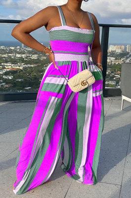 Purple Women Pocket Printing Waisting Wide Leg Jumpsuits HXY88072-6
