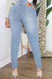 Mid Blue High Waist Bodycon Hole Jeans Long Pants WE9030-1