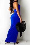 Blue Sexy Sleeveless Cross Condole Blet Bandage Split Solid Color Skirts Sets XZ5155-2