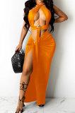 Orange Sexy Sleeveless Cross Condole Blet Bandage Split Solid Color Skirts Sets XZ5155-4