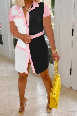 White Black Women Positioning Button Tailored Collar Short Sleeve T Shirt/Shirt Dress ASM6128