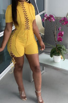 Yellow Women Bandage Short Sleeve Hollow Out Romper Shorts LD81019-2