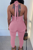 Black Pure Color RIidder Halter Neck Bandage V Collar Sexy Backless Bodycon Jumpsuits LML251-4