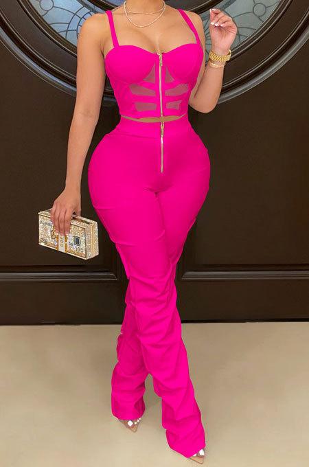 Rose Red Women Solid Color Condole Belt Strapless Zipper Tank Long Pants Sets XZ5215-3