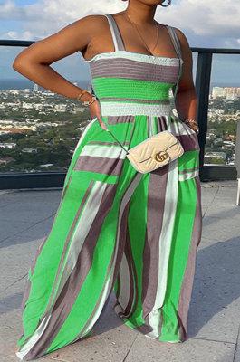 Green Women Pocket Printing Waisting Wide Leg Jumpsuits HXY88072-4