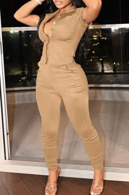 Khaki Linen Lapel Neck Short Sleeve Shirt Long Pants Pure Color Casual Two Piece LML253-3