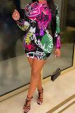 Blue Euramerican Women Digital Printing Long Sleeve Round Neck Mini Dress XZ5159-3