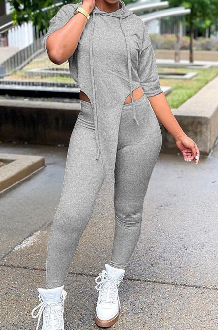 Grey White Solid Color Personality Hoodie Half Sleeve Top Tight Long Pants Sports Sets LM88802-4
