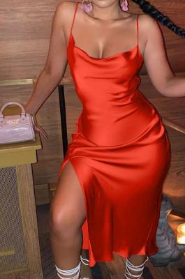 Red Glossy Condole Belt Adjust Low Cut Slit Dress LML256-2