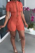Orange Women Bandage Short Sleeve Hollow Out Romper Shorts LD81019-4