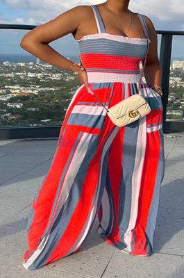 Red Women Pocket Printing Waisting Wide Leg Jumpsuits HXY88072-3