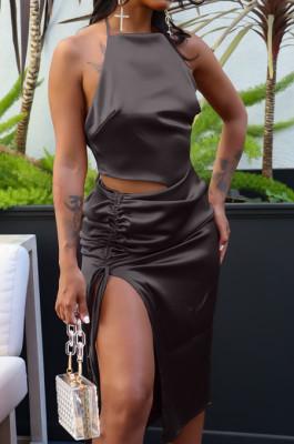 Black Silk Satin Sexy Halter Neck Backless Bandage Tank Drawstring Slit Skirts Two Piece LML257-2
