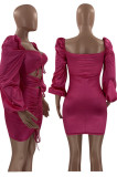 Rose Red Glossy Low-Cut Bandage Lantern sleeve Hollow Out Tight Hip Dress LM88812-2