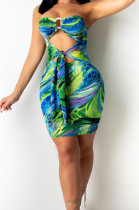 Blue Print Strapless Backless Bandage Dew Waist Sexy Hip Dress T226-2
