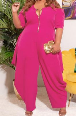 Rose Red Big Yards Pure Color Half Sleeve Off Shoulder Zipper Loose Jumpsuits S66305-2